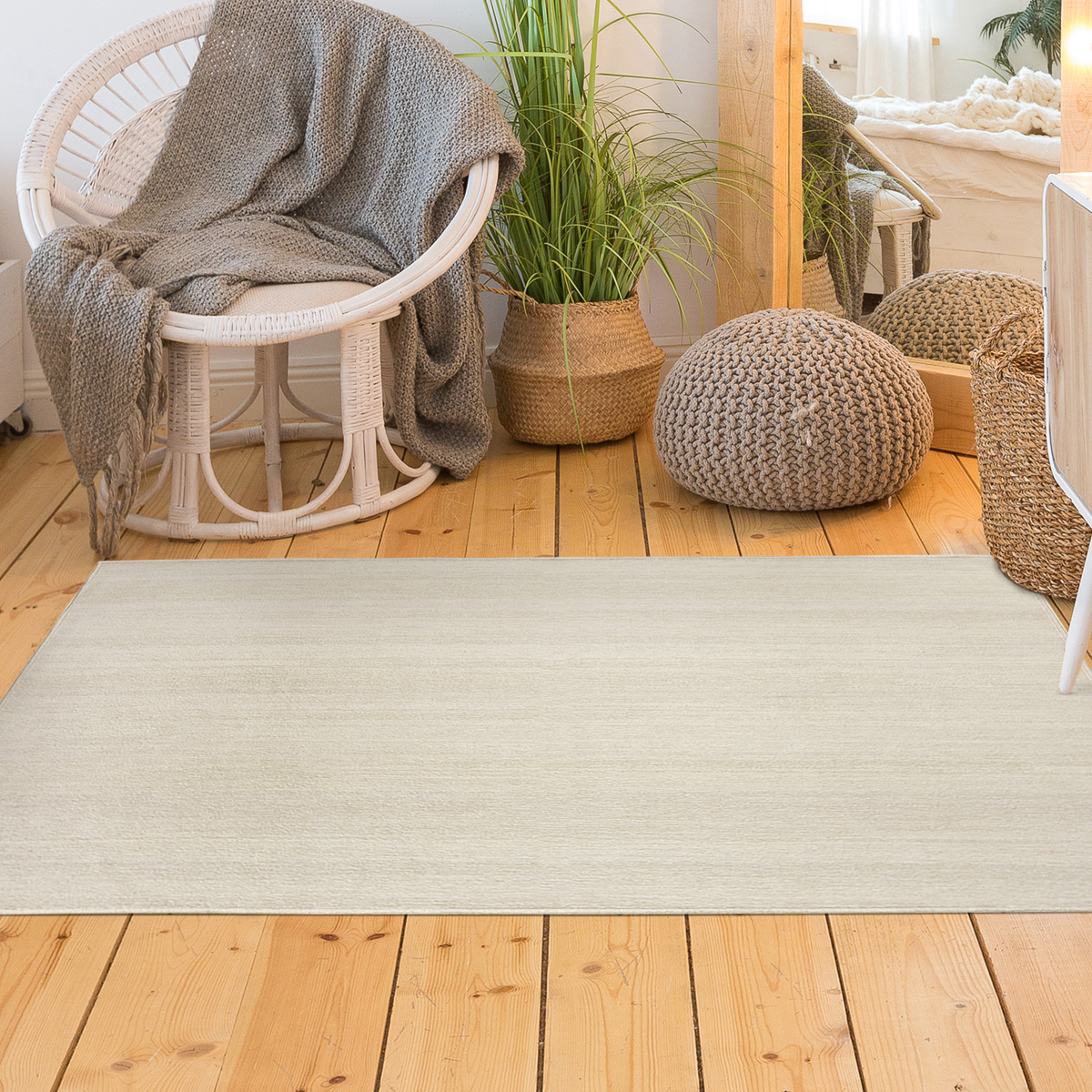 Ruggable Washable 3x5' Accent Rug-Solid Textured Cream | JOANN