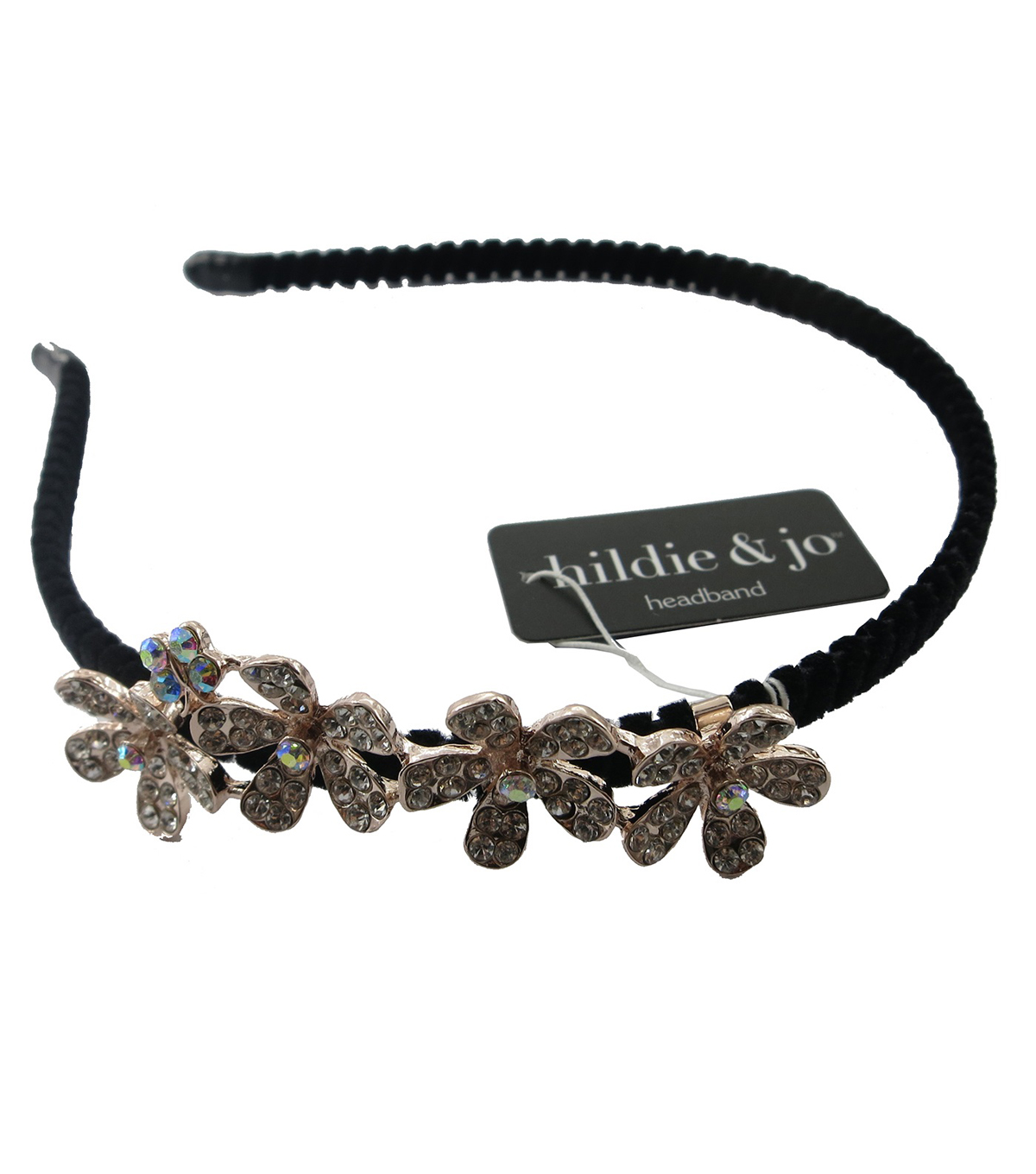 hildie & jo Black Headband with Flowers-Iridescent Crystals