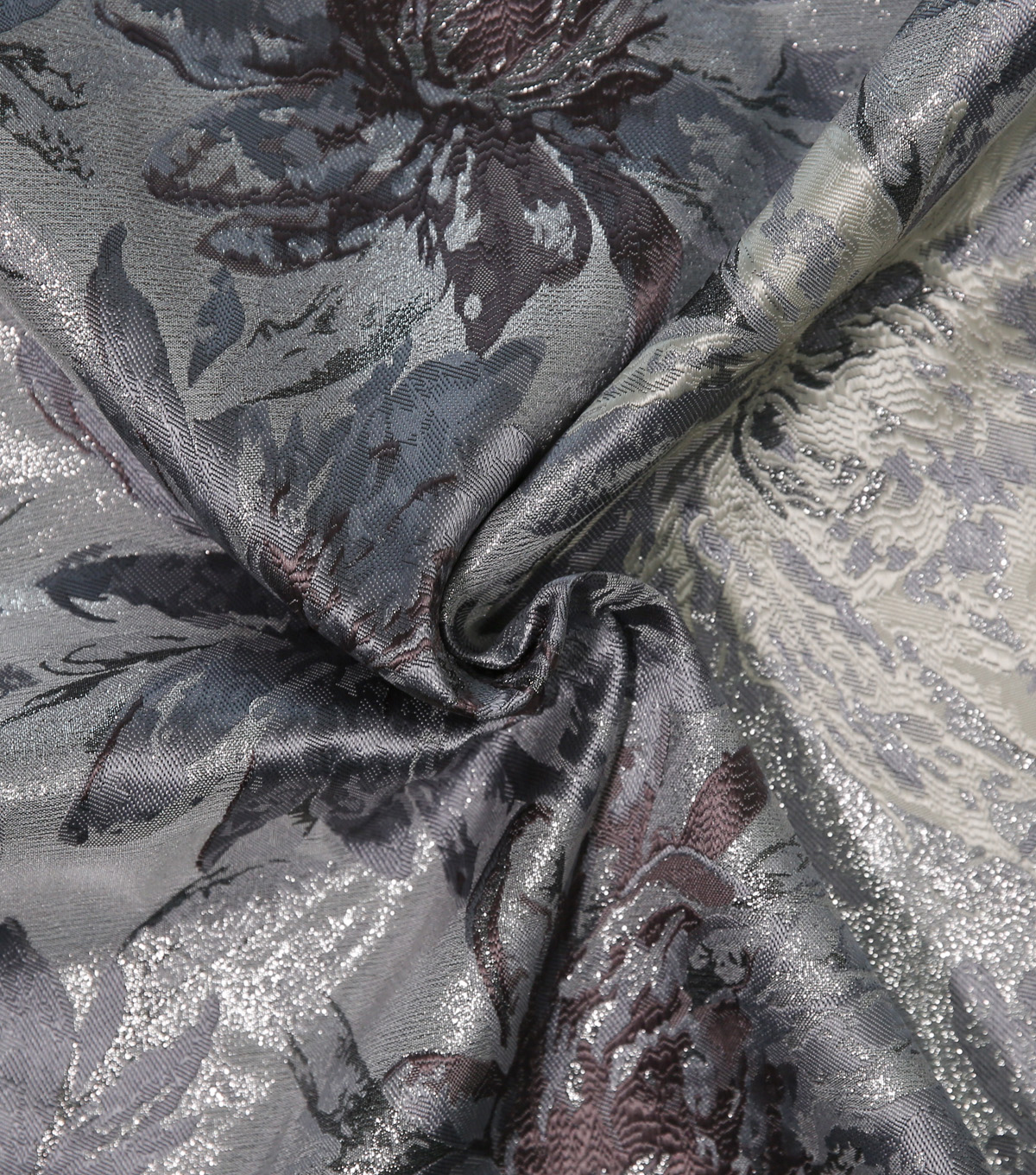 Metallic Brocade Fabric-Floral Silver