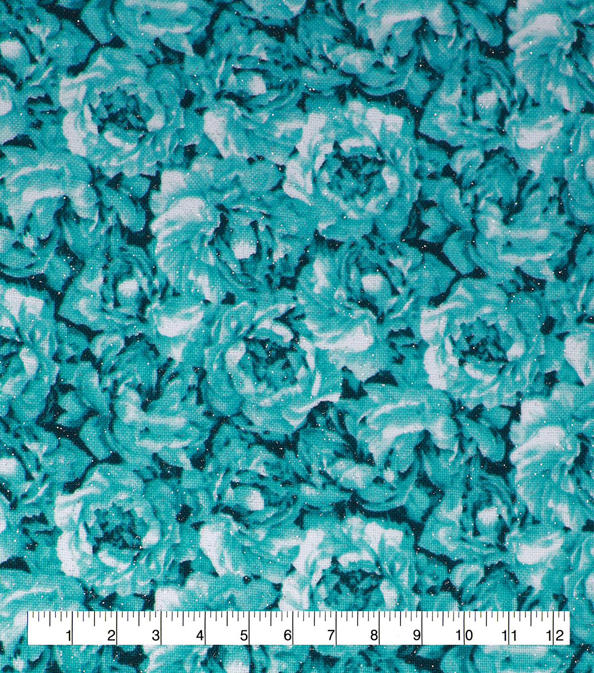 Keepsake Calico Cotton Fabric-Teal Glitter Packed Flowers