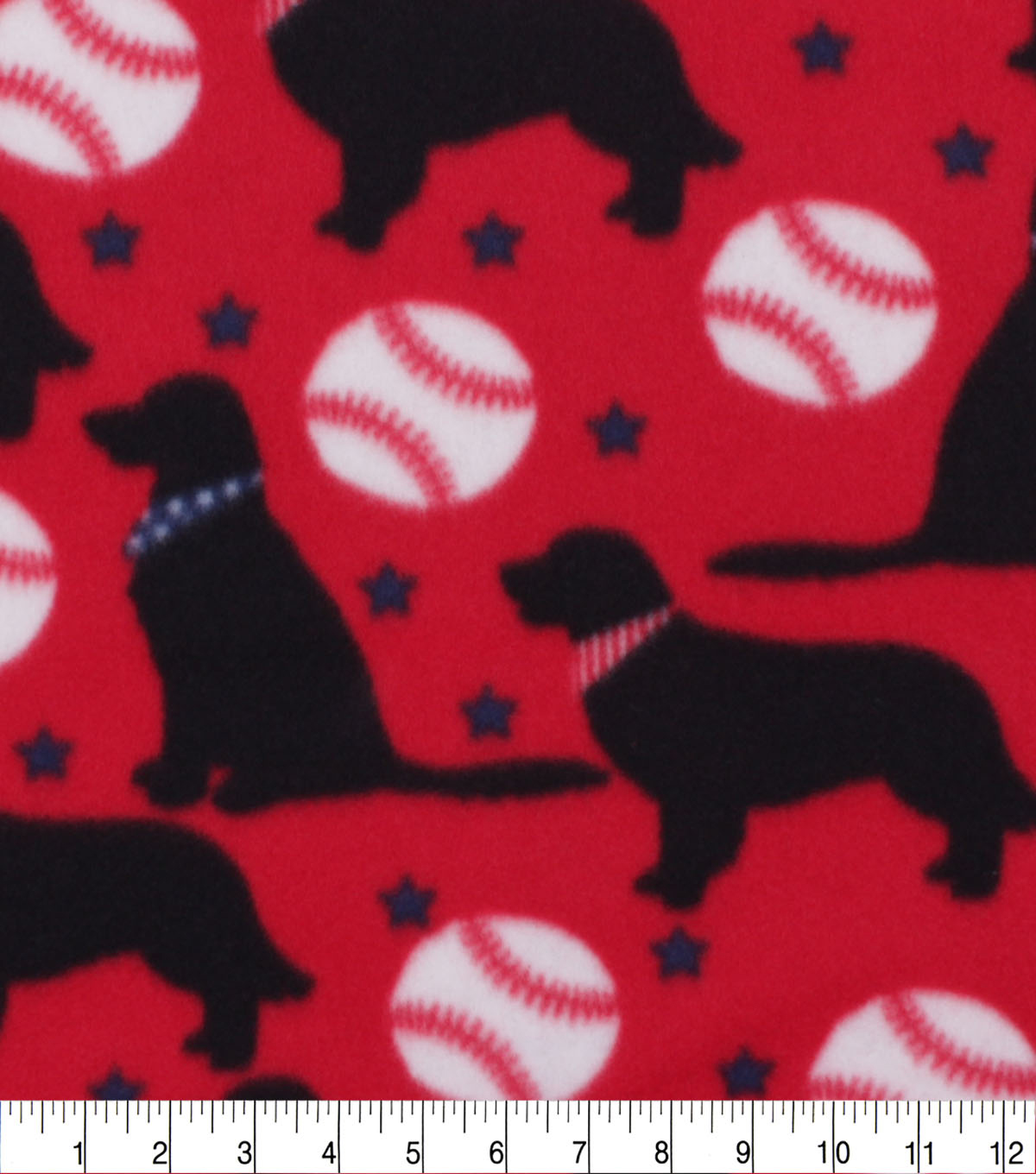 Blizzard Fleece Fabric-Pups And Baseballs On Red