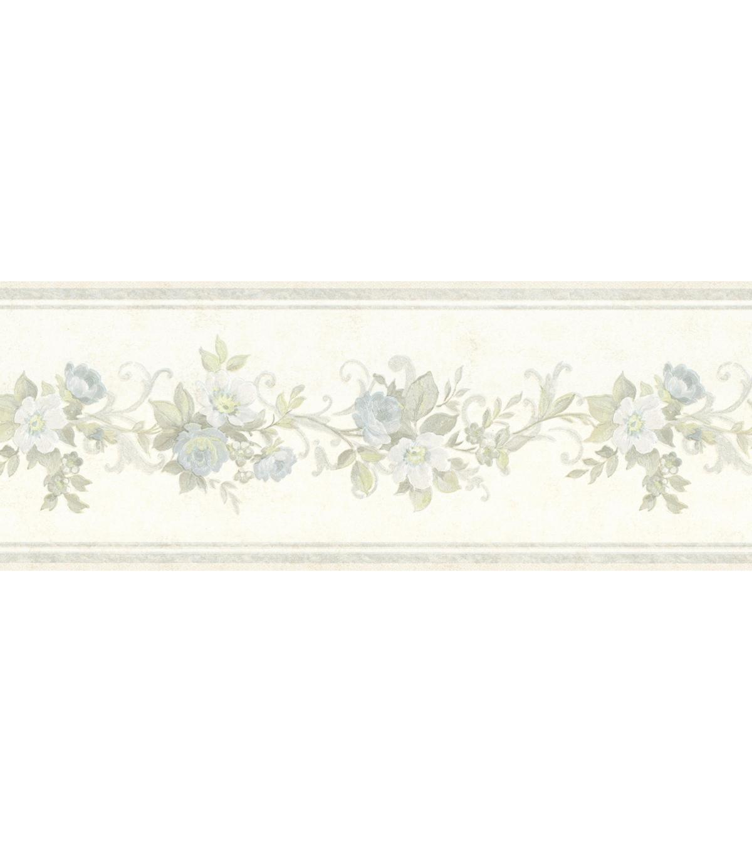 Lory Light Blue Floral Wallpaper Border Joann