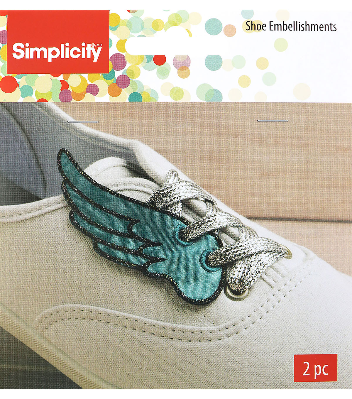 Wrights 2 pk 1.5\u0027\u0027x3.38\u0027\u0027 Wing Shoe Embellishments-Teal