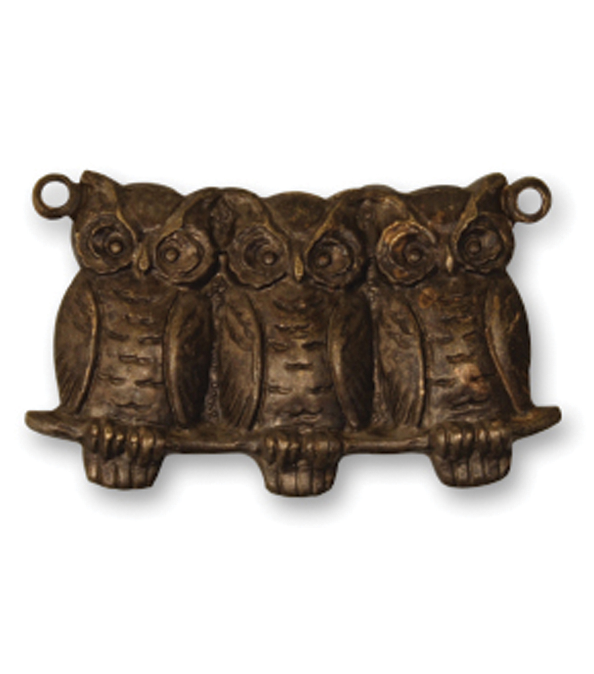 Vintaj Metal Accent-Perched Owls 22x11.5mm