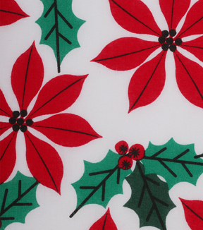 Holiday Showcase Christmas Cotton Fabric 43\u0027\u0027-Poinsettia & Holly on White