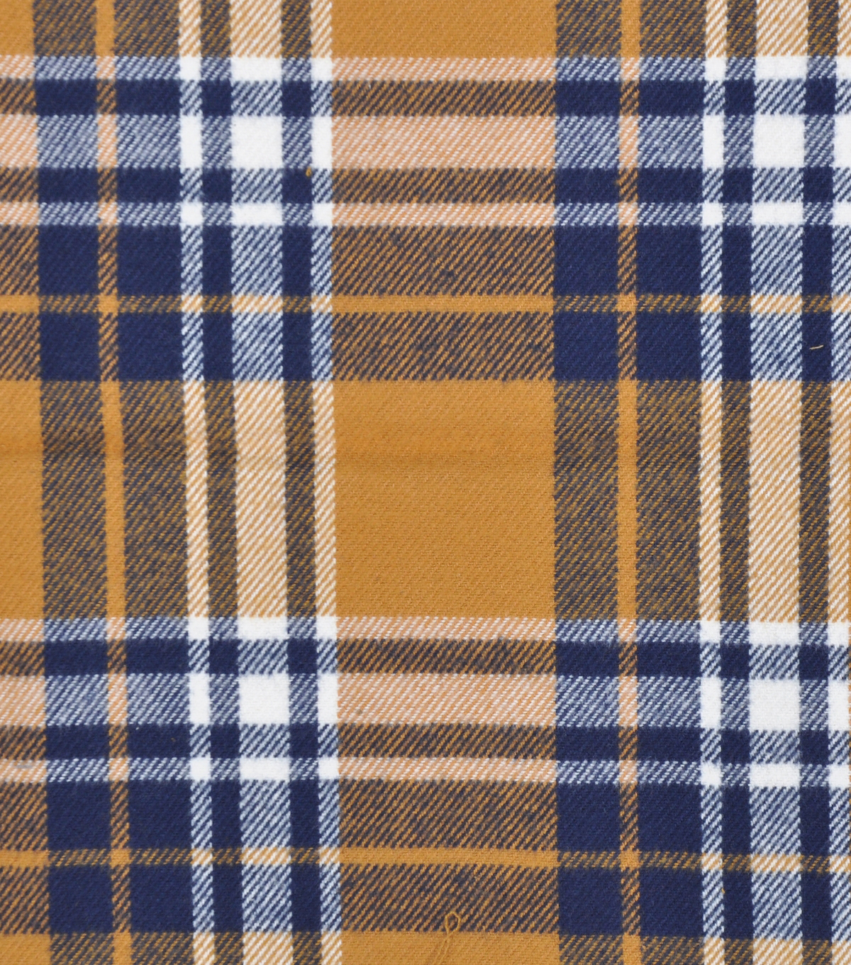 Plaiditudes Brushed Cotton Fabric-Gold, Navy & Ivory Tricolor Plaid
