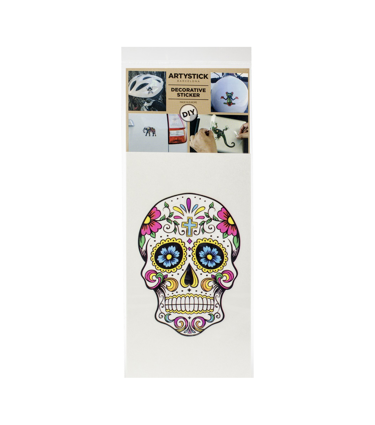 Artystick Decorative Stickers 3.75\u0022X7.75\u0022-Hippie Skull 2