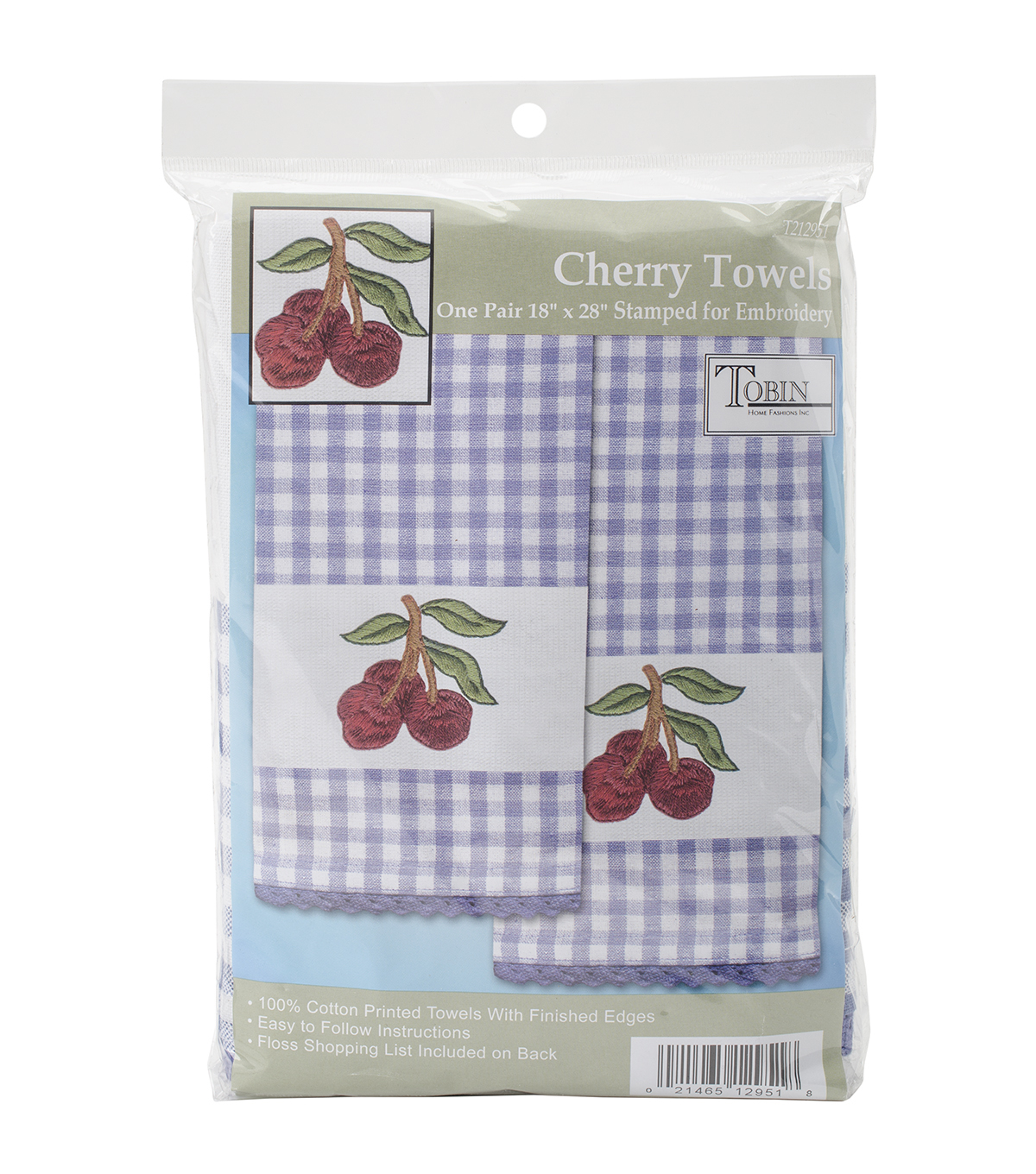 Tobin Cherry Stamped Kitchen Towels For Embroidery 16\u0027\u0027x28\u0027\u0027
