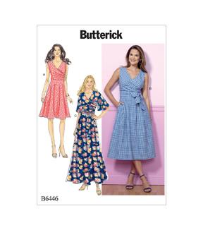 Butterick Pattern B6446 Misses\u0027 Pleated Wrap Dresses-Size 14-16-18-20-22