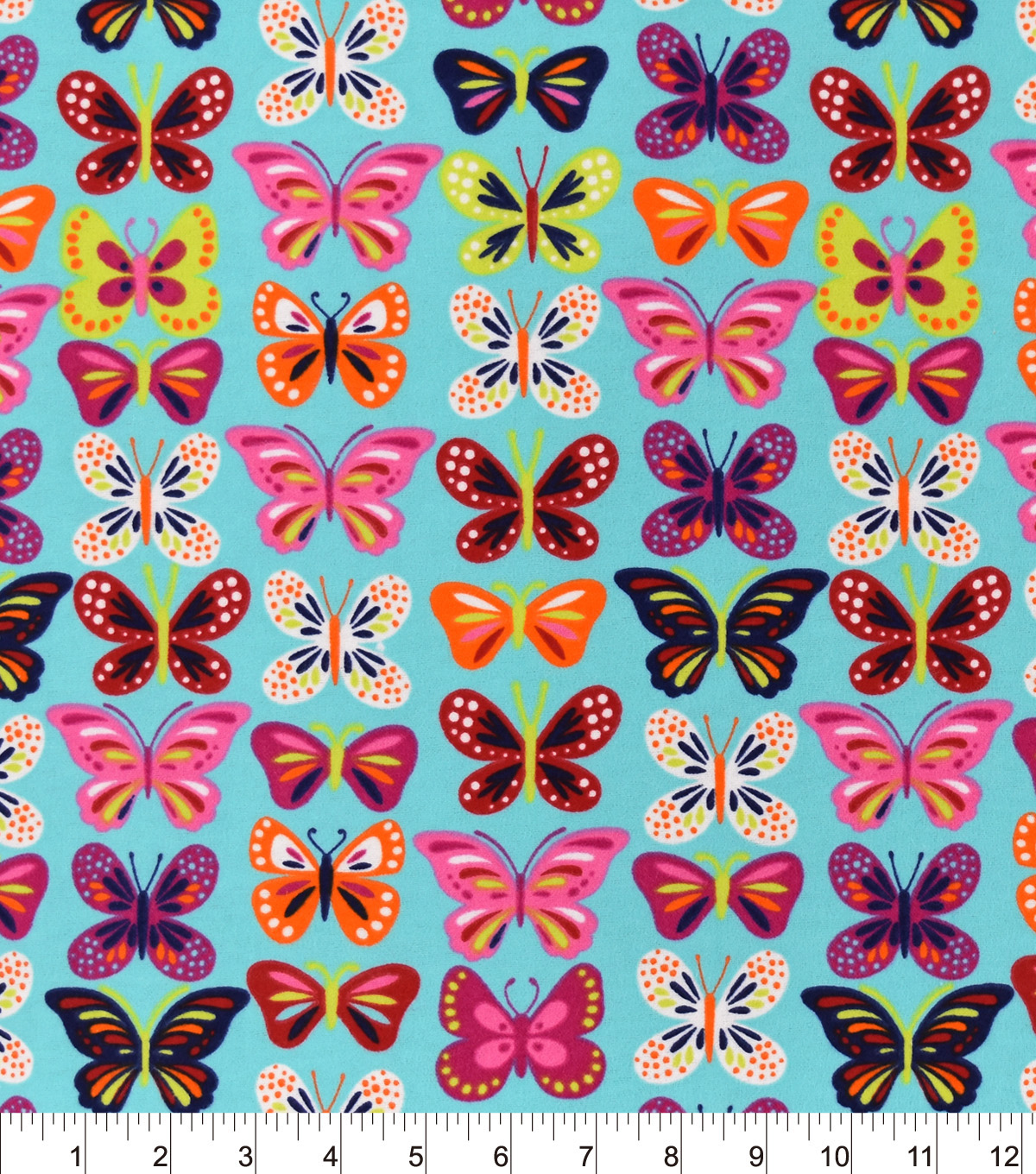 Snuggle Flannel Fabric 42\u0022-Bright Butterflies Inline