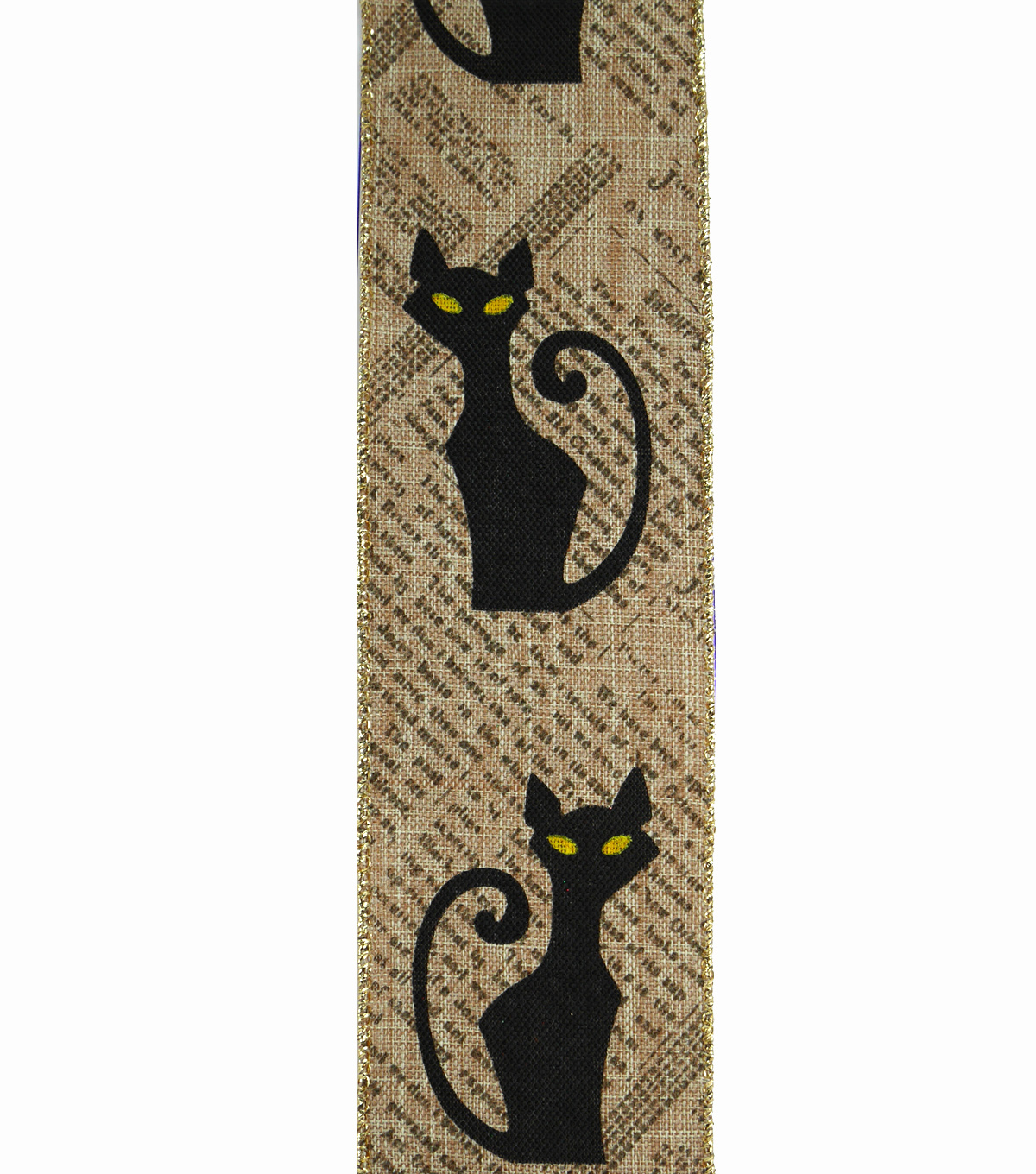 Maker\u0027s Halloween Ribbon 2.5\u0027\u0027x12\u0027-Black Cats on Newsprint