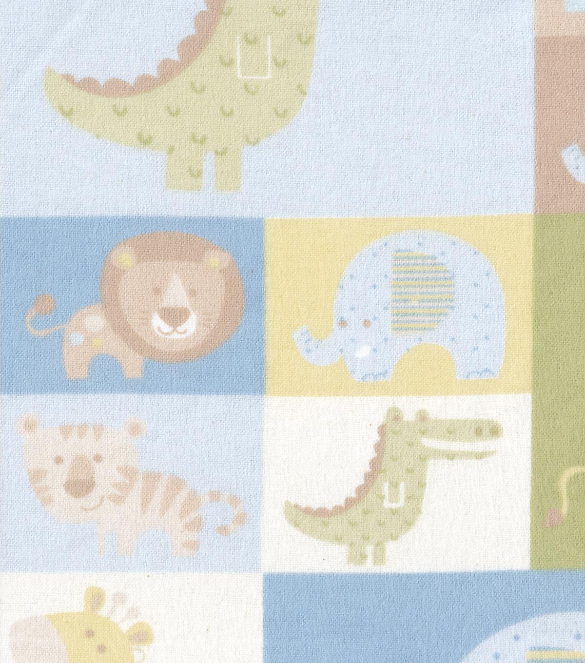Snuggle Flannel Fabric 42\u0022-Baby Zoo Patched