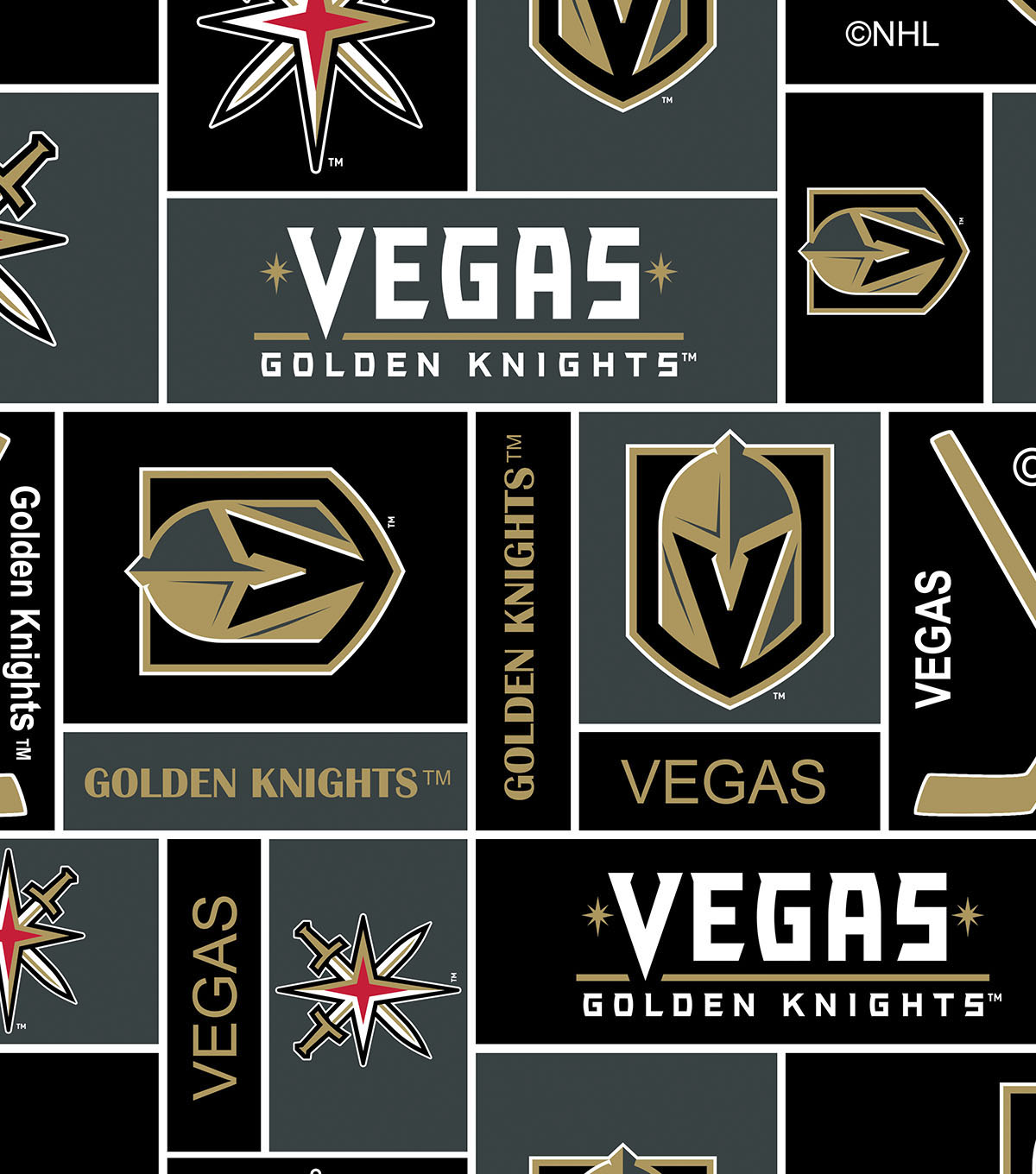Vegas Golden Knights Fleece Fabric 60\u0027\u0027-Block