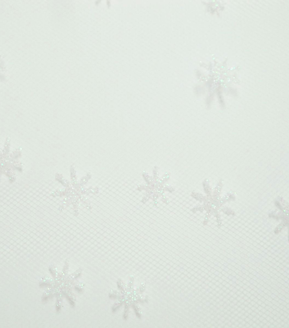 Tulle Fabric -White Iridescent Glitter Snowflake
