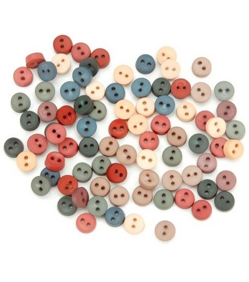 Dress It Up Embellishments, Tiny Round Buttons - Country