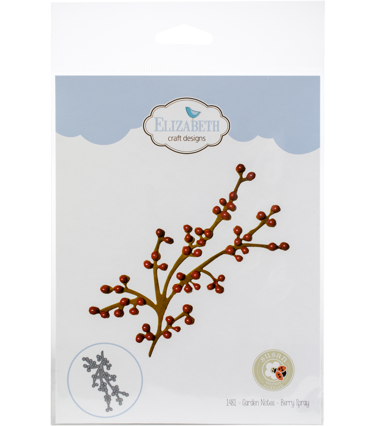Elizabeth Craft Designs Susan S Garden Notes Metal Die Berry Spray