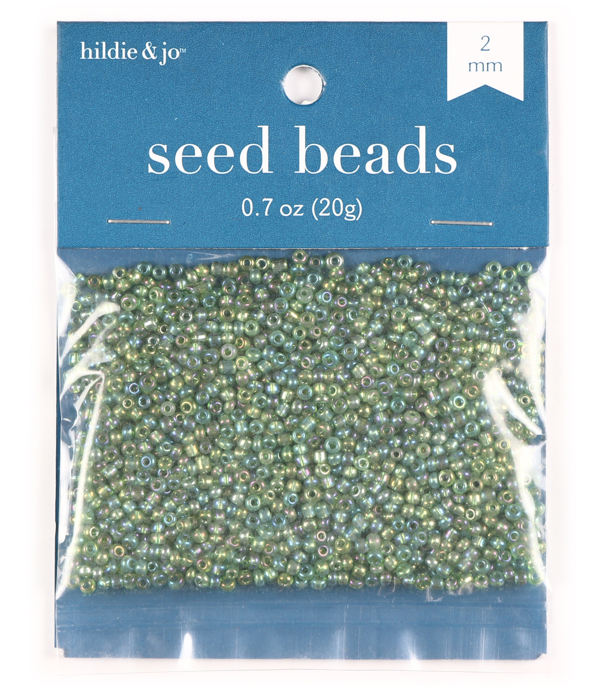 Transparent Glass Seed Beads-Green with Rainbow Effect, 10/0, 20 grams