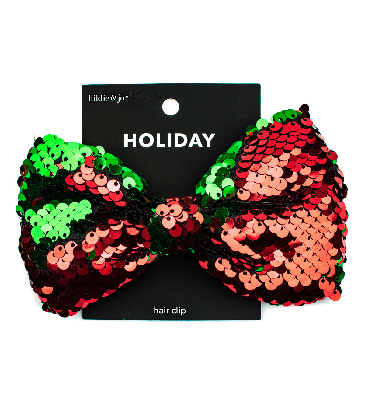 hildie & jo Holiday Hair Bow-Red And Green Flip Sequin