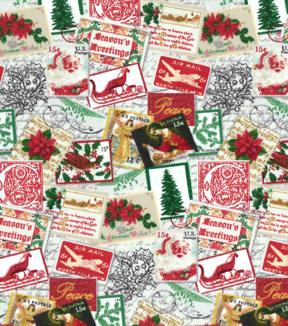 Christmas Cotton Fabric Holiday Postage Stamps