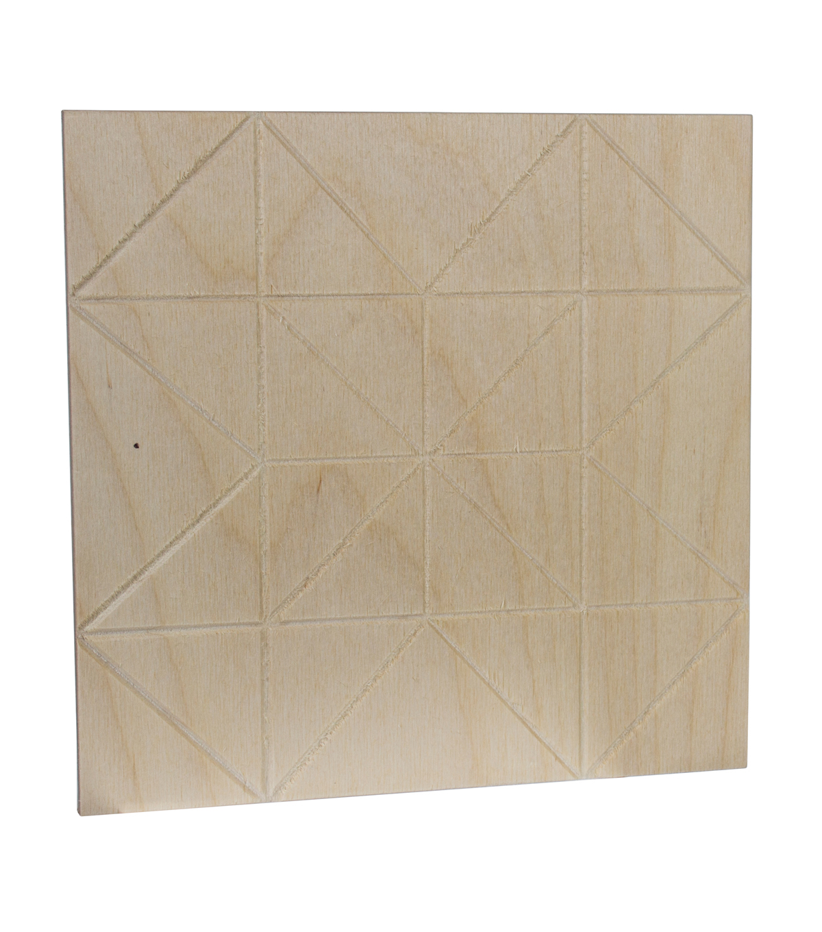 Unfinished Etched Wood Surface 8X8\u0027\u0027-Quilt Triangles