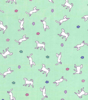 1930\u0027s Premium Cotton Print Fabric 43\u0027\u0027-Dog & Garden on Green