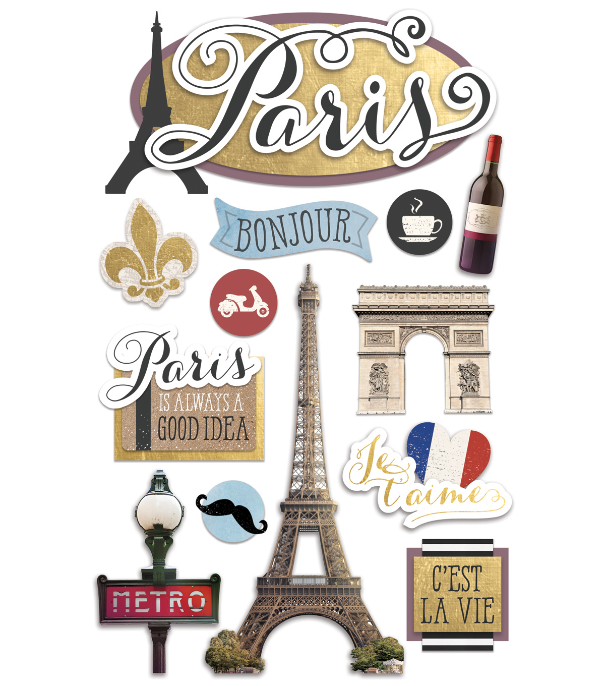 Paper House 4.5\u0027\u0027x8.5\u0027\u0027 3D Stickers-Discover Paris