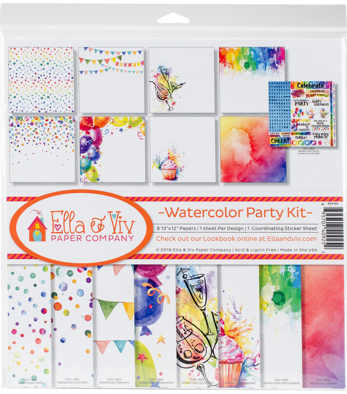 Ella & Viv Collection Kit 12\u0022X12\u0022-Watercolor Party
