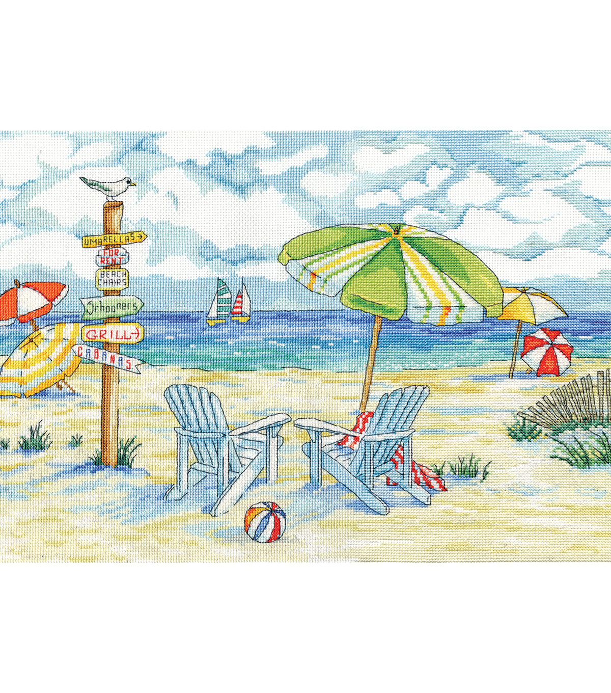 Design Works Crafts 11\u0027\u0027x18\u0027\u0027 Counted Cross Stitch Kit-Beach Signs