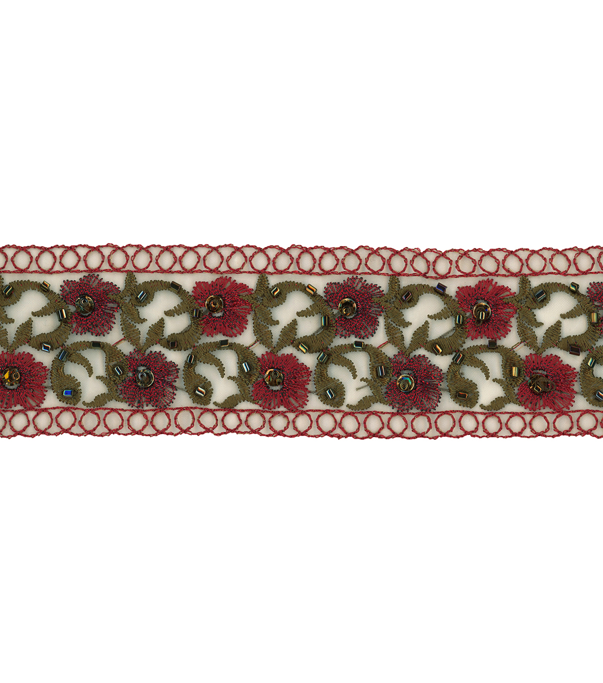 Wrights Trims-1 3/4\u0022 Sage Sheer Band With Beads