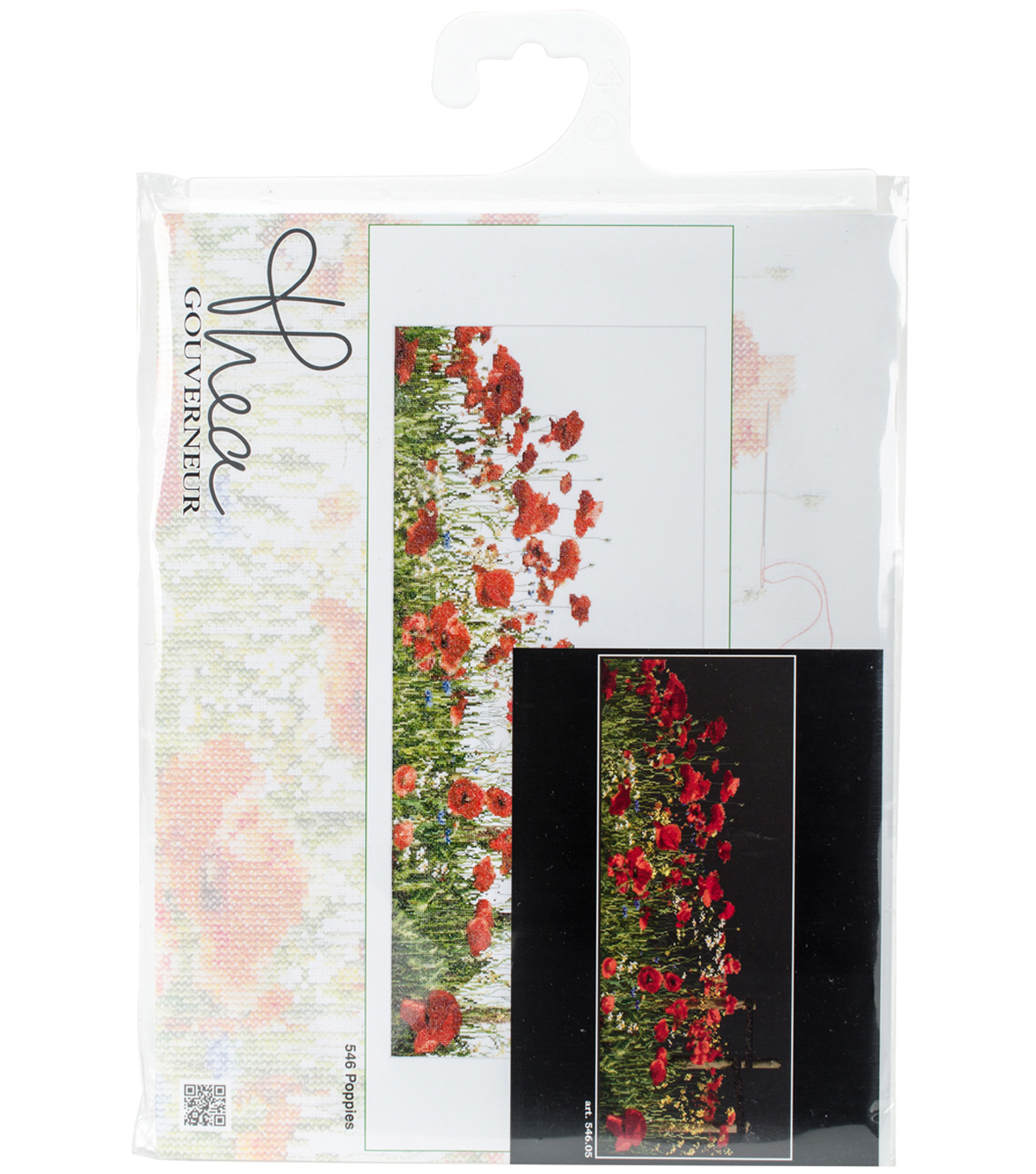 Thea Gouverneur Aida Counted Cross Stitch Kit-Poppies on Black