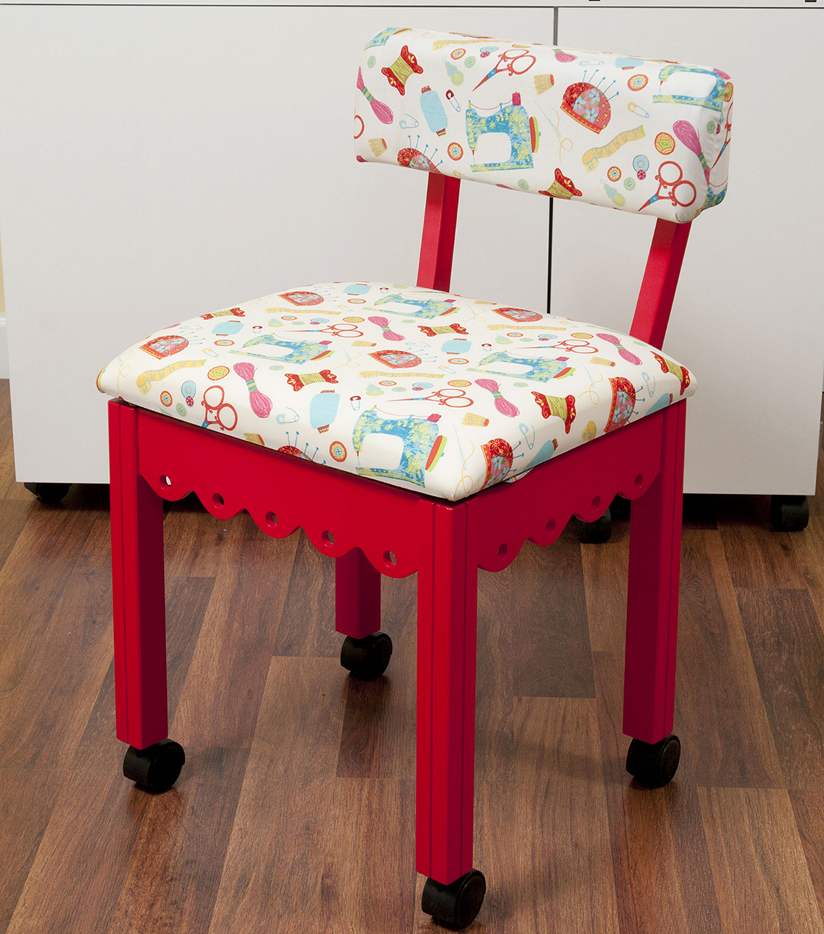 Pleasing Arrow Red Sewing Chair With Scalloped Base Sewing Notions On White Theyellowbook Wood Chair Design Ideas Theyellowbookinfo