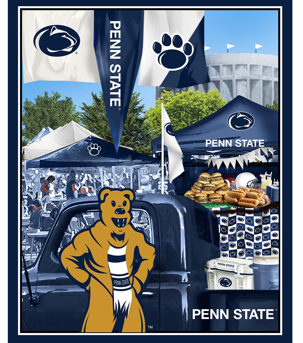 Penn State University Nittany Lions Cotton Panel 36\u0022-Tailgate