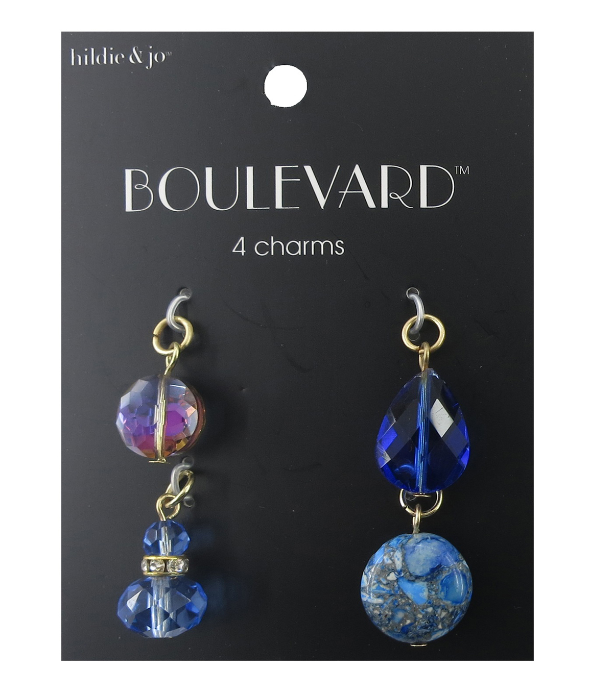 hildie & jo Boulevard 4 Pack Gold Charms-Blue & Gray Crystals