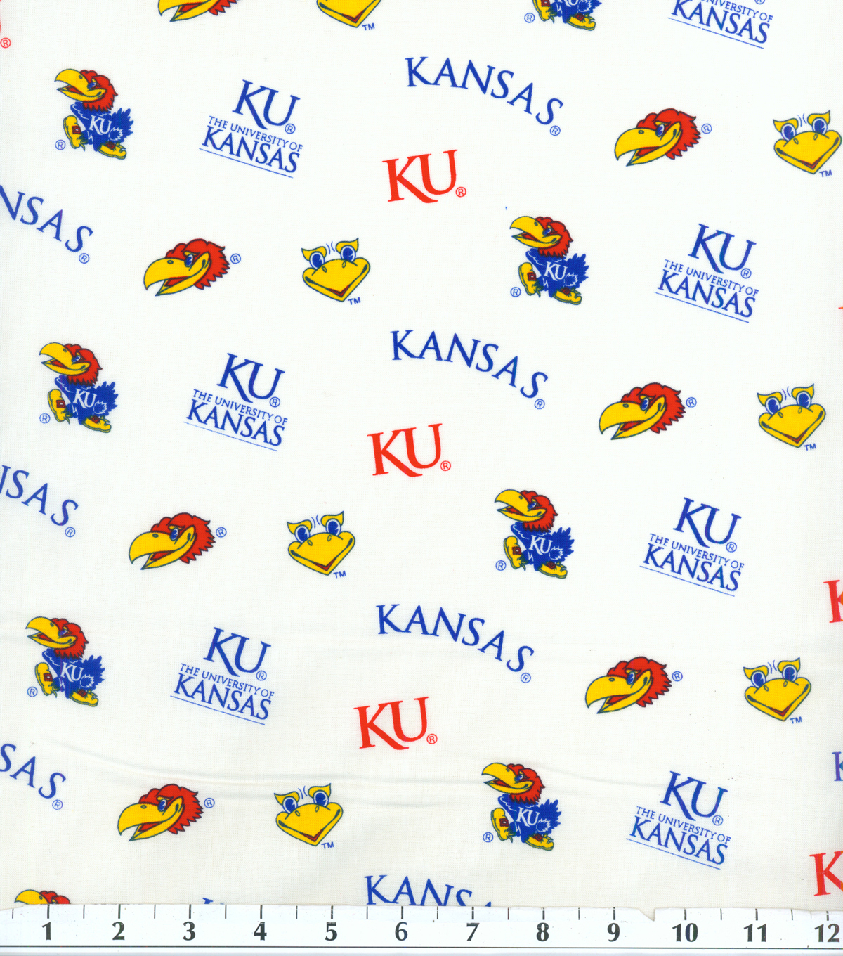 University of Kansas Jayhawks Cotton Fabric 43\u0022-White