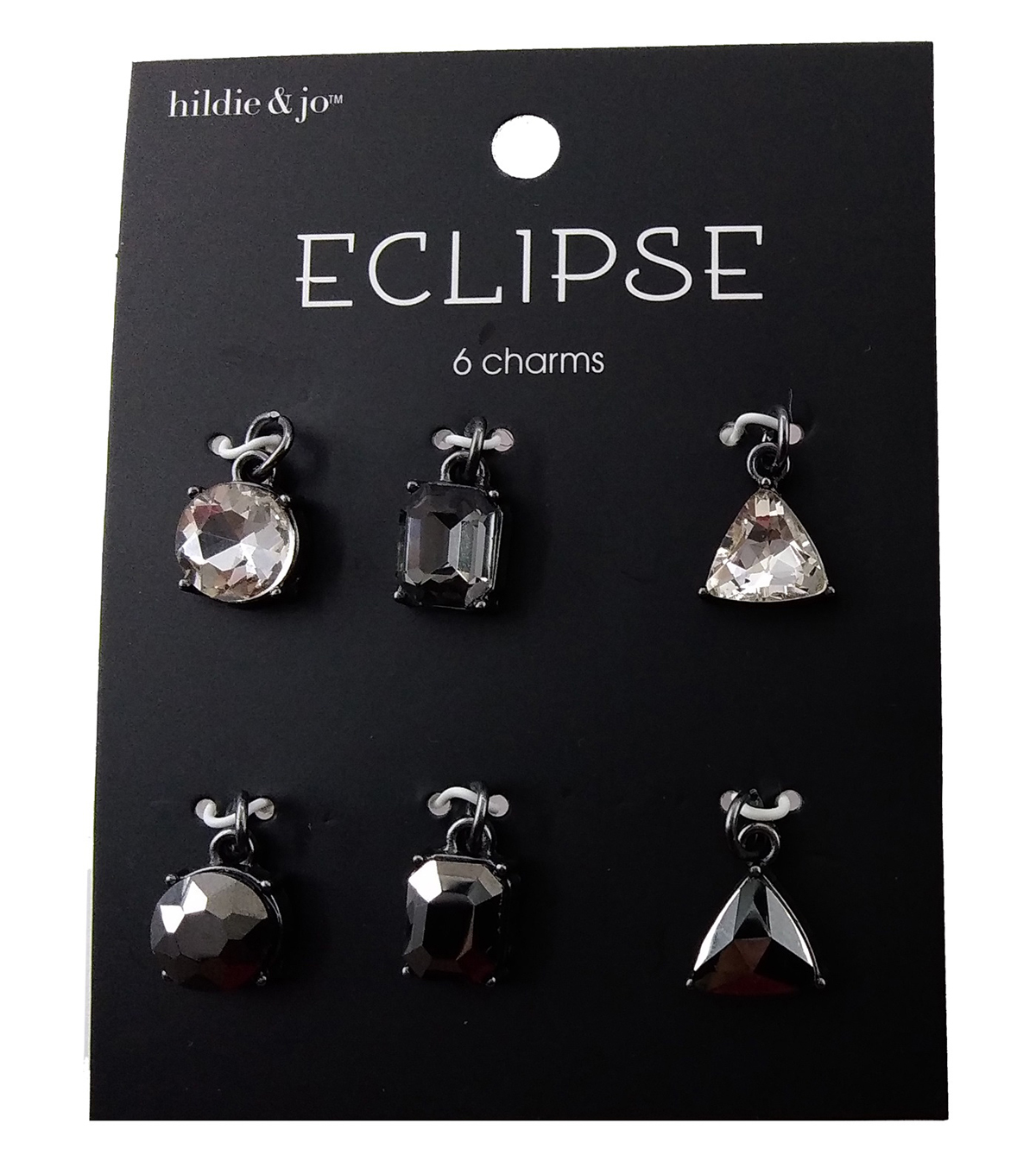 hildie & jo Eclipse Charms-Round Square Triangle Grey 6pc