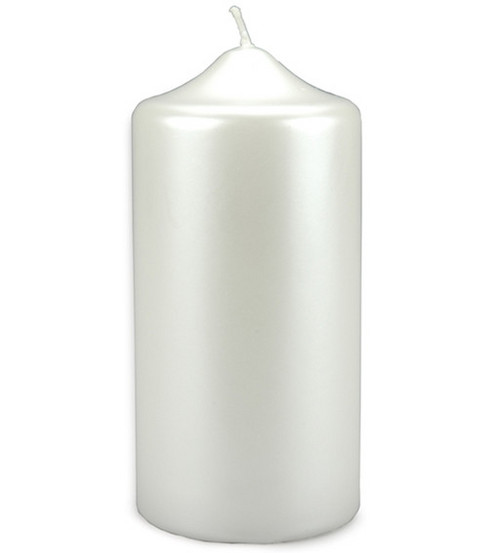 Darice Pearlized Pillar Candle-White