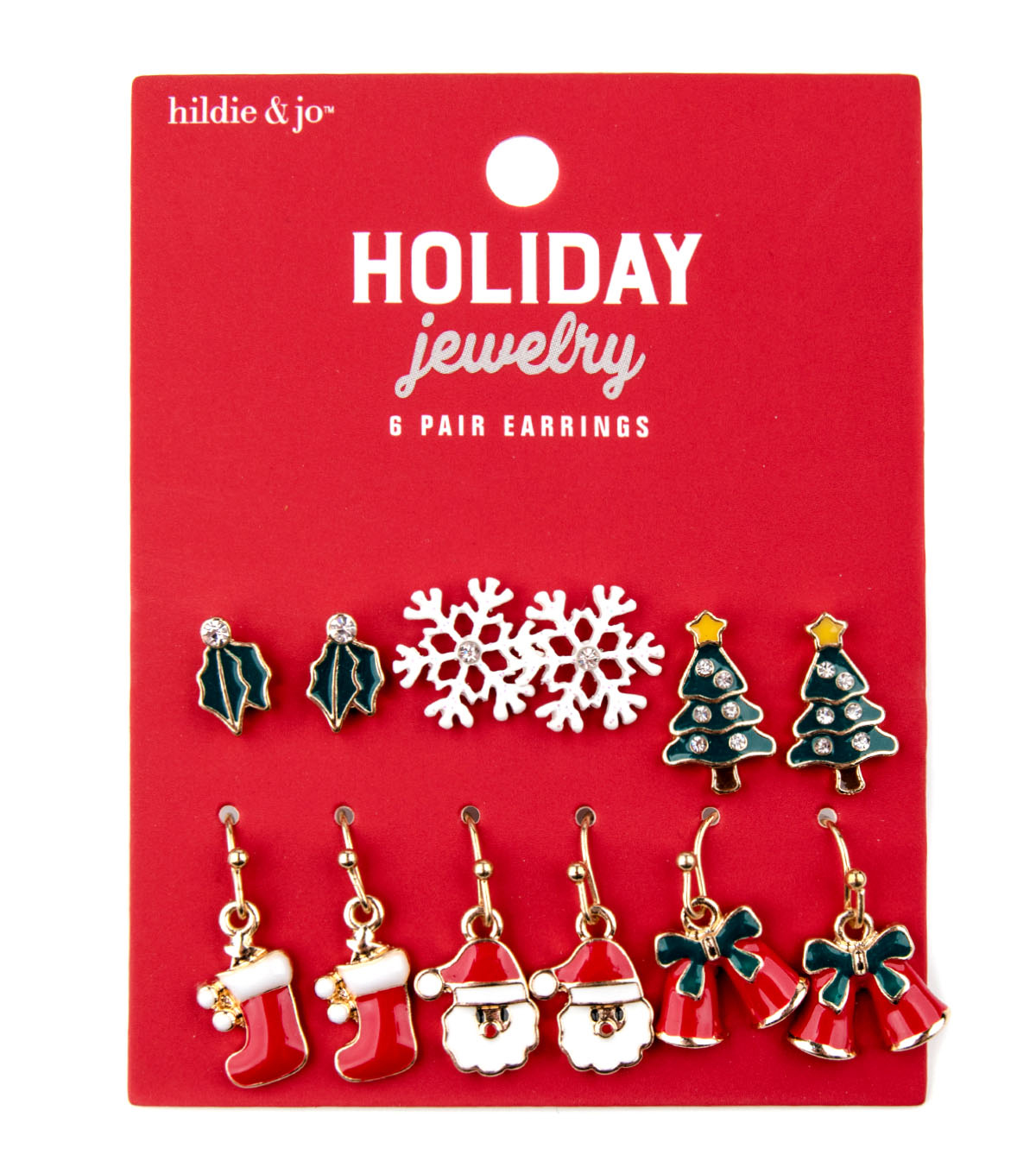 hildie & jo Christmas Holiday Jewelry 6-pair Gold Earrings