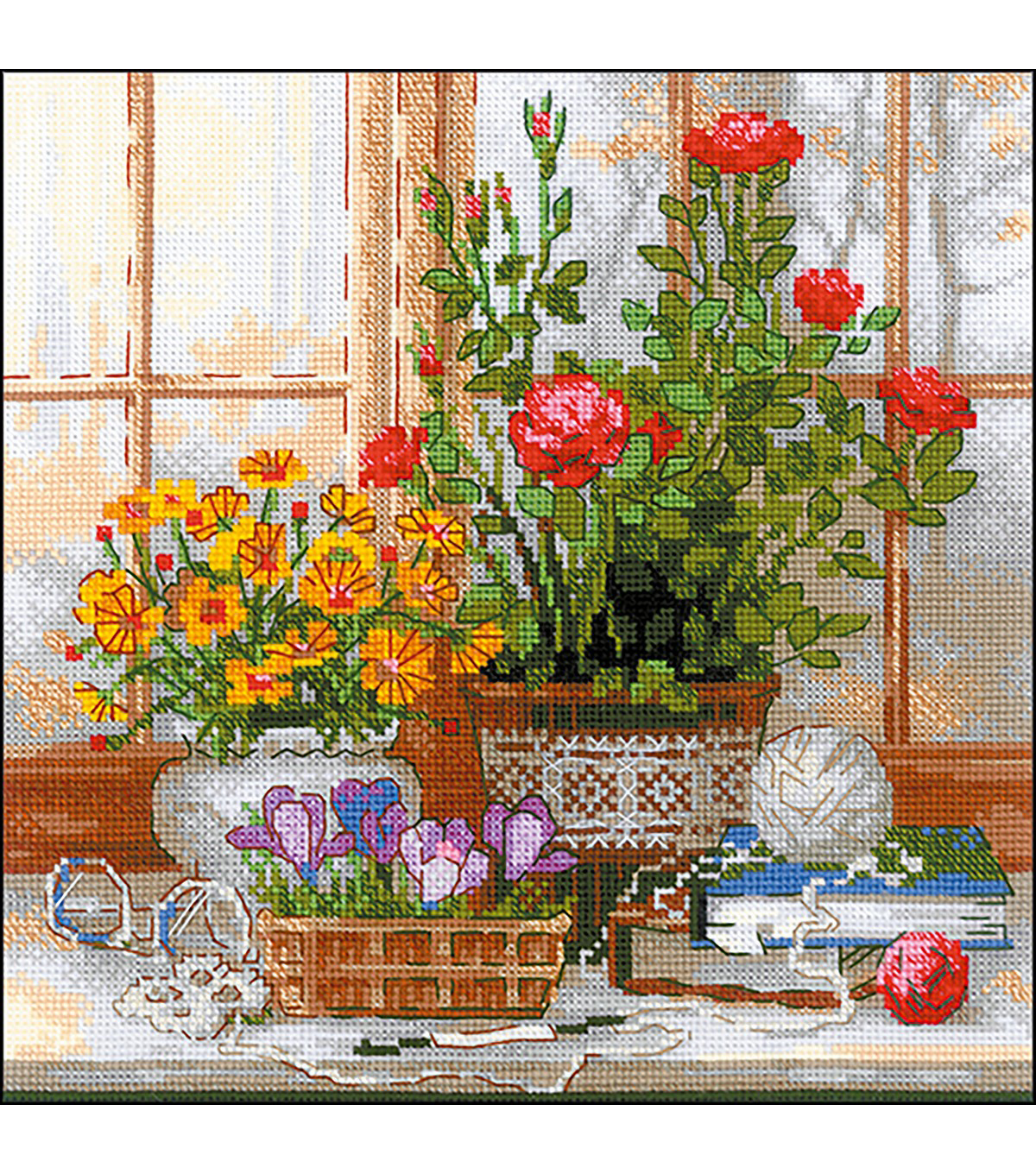 RIOLIS 9.75\u0027\u0027x9.75\u0027\u0027 Counted Cross Stitch Kit-Crocuses on the Windowsill