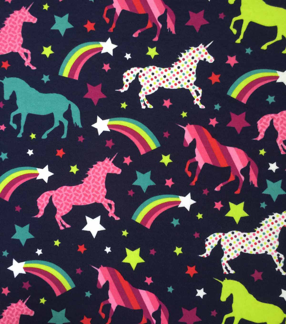 73334caf028 Doodles Cotton Interlock Knit Fabric-Navy Rainbows   Unicorns
