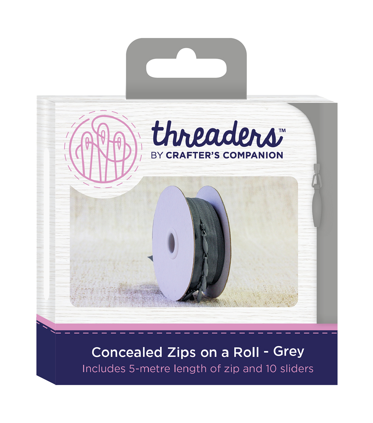 Threaders Concealed Zips on a Roll-Grey