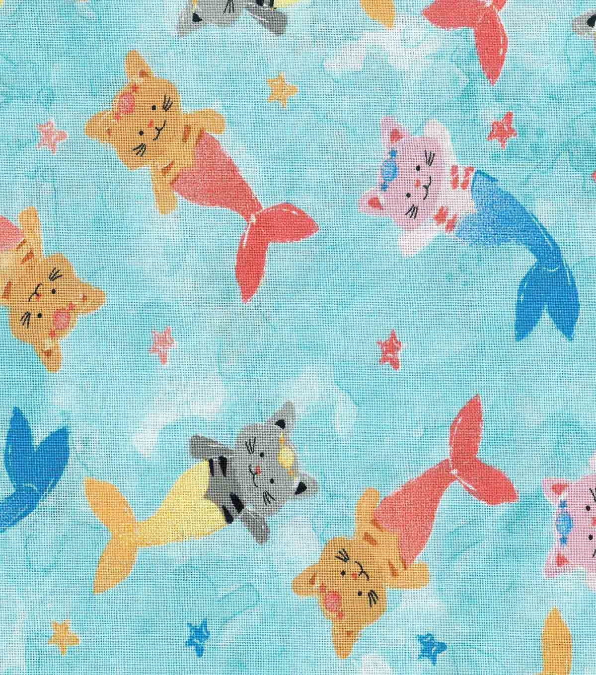 Novelty Cotton Fabric 43\u0027\u0027-Mermaid Kitties