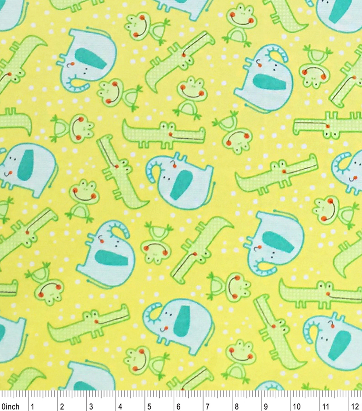 Nursery Flannel Fabric -Happy Jungle Tossed Animals