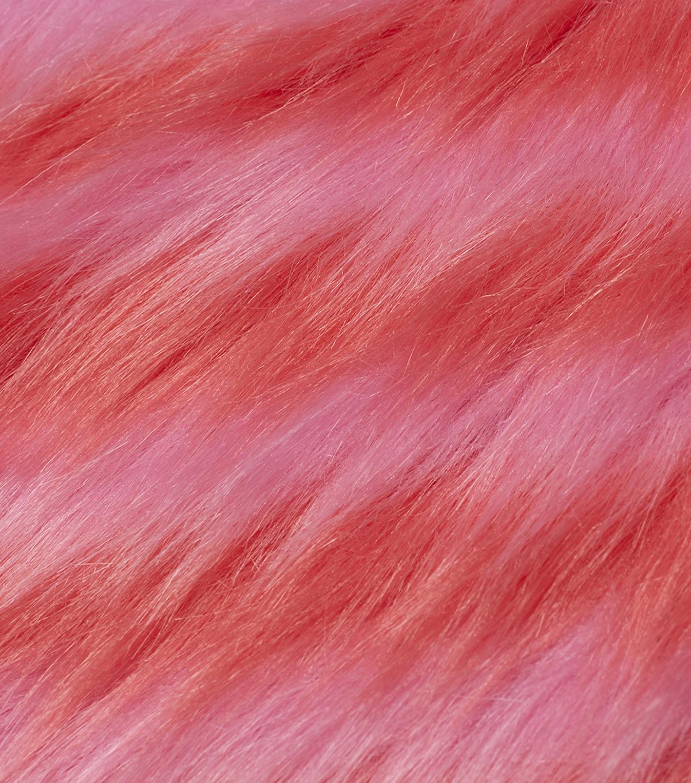 Fashion Faux Fur Fabric Pink Orange