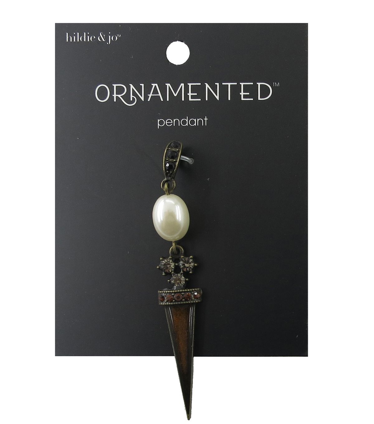 hildie & jo Ornamented Spike Antique Gold Pendant-Oval Pearl