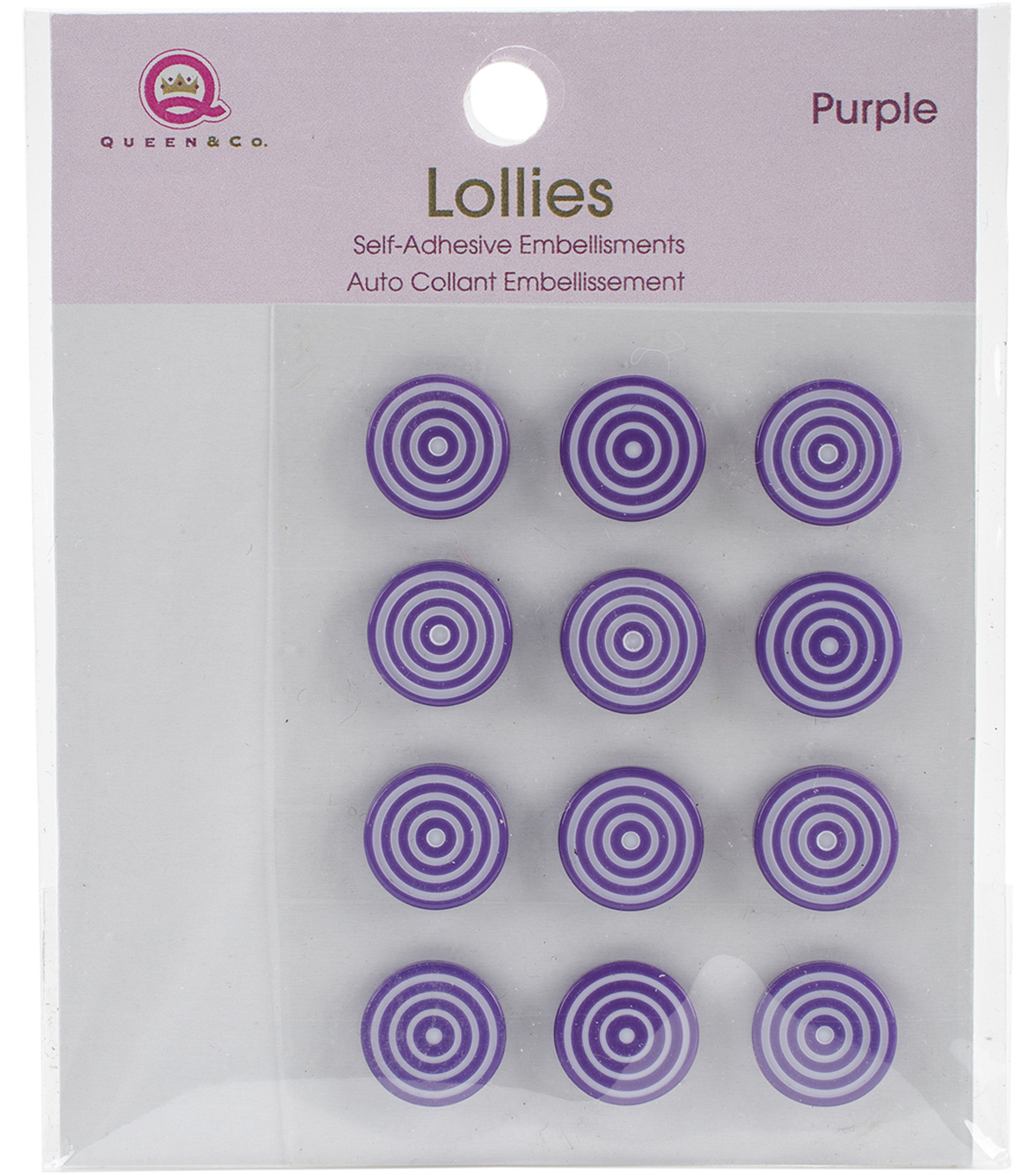 Queen & Co. 12 pk Lollies Self-Adhesive Embellishments-Purple