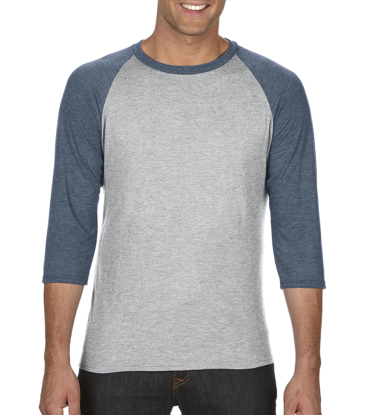 Anvil Extra Large Adult Raglan Shirt, Grey/navy