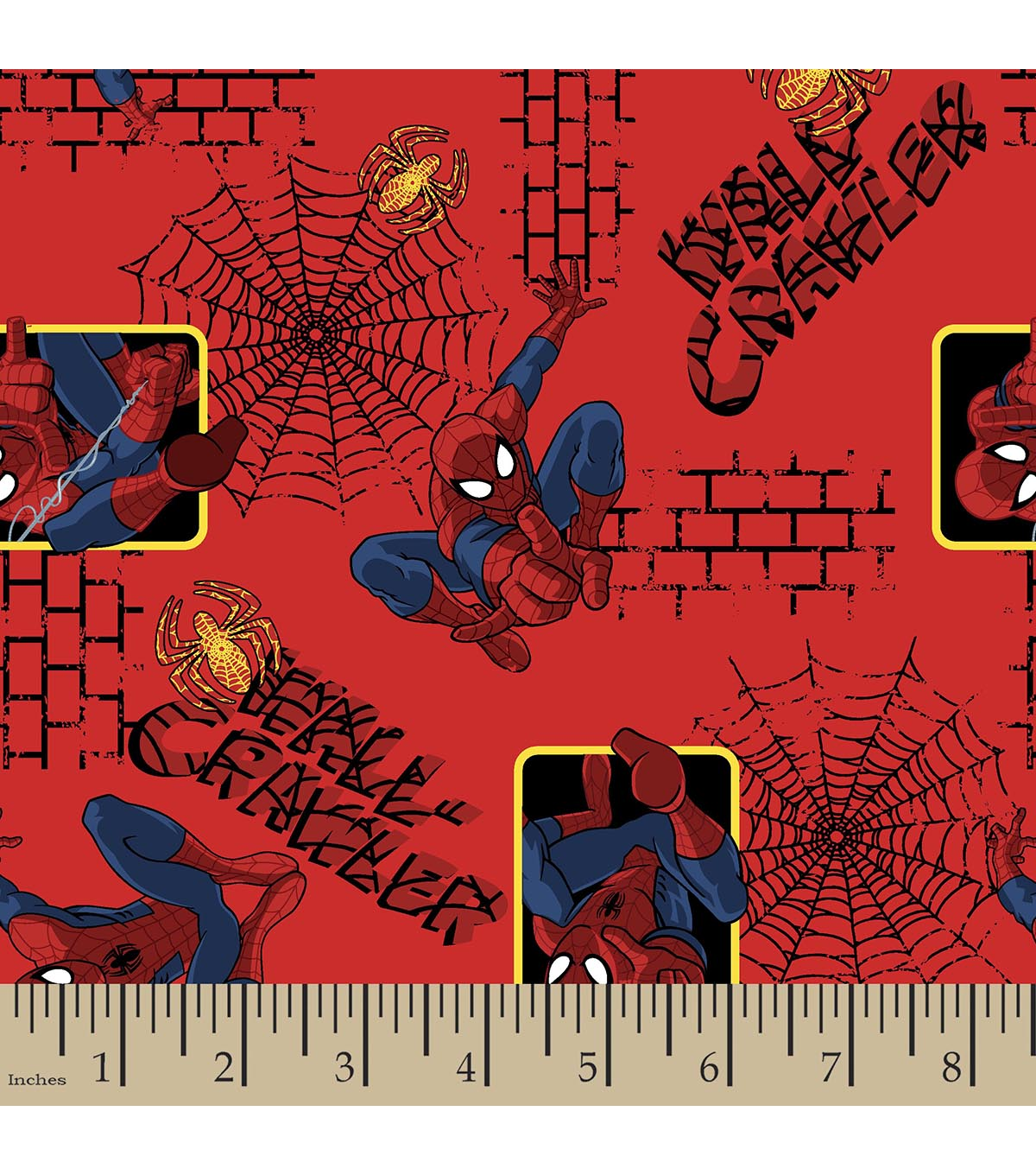 Marvel Comics Spider-Man Flannel Fabric 42\u0022-Wall Crawler