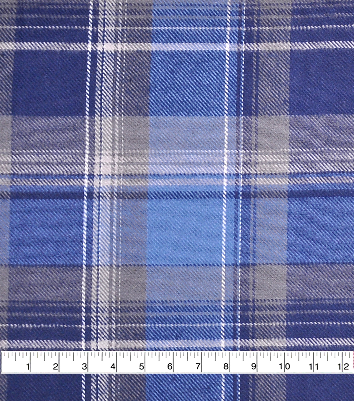 Cotton Shirting Fabric 42\u0027\u0027-Gray & Blue Plaid