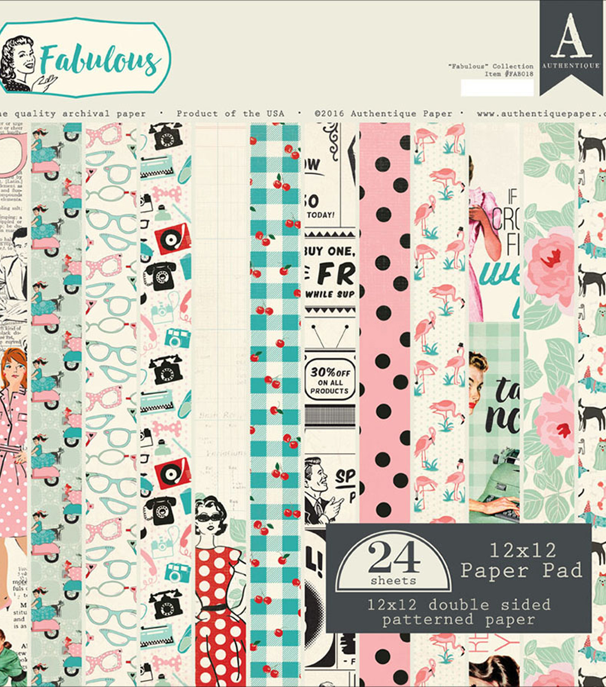 Authentique Double-Sided Cardstock Pad 12\u0022X12\u0022-Fabulous