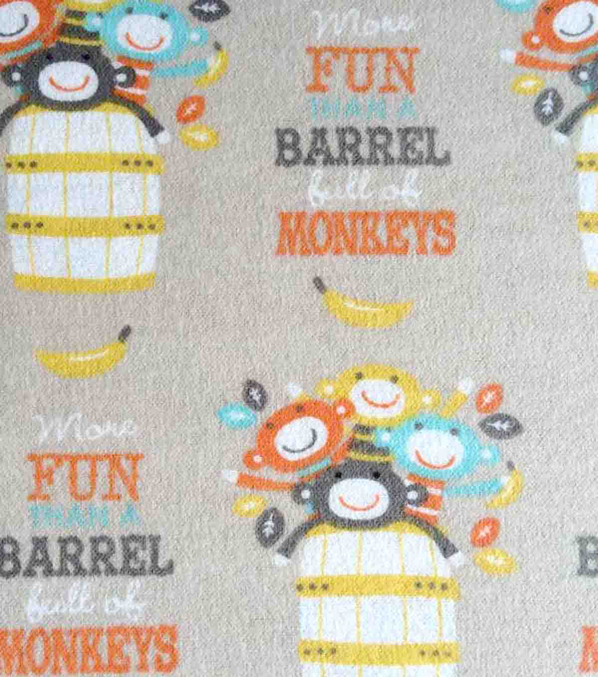 Snuggle Flannel Fabric -Barrel Full Of Monkeys